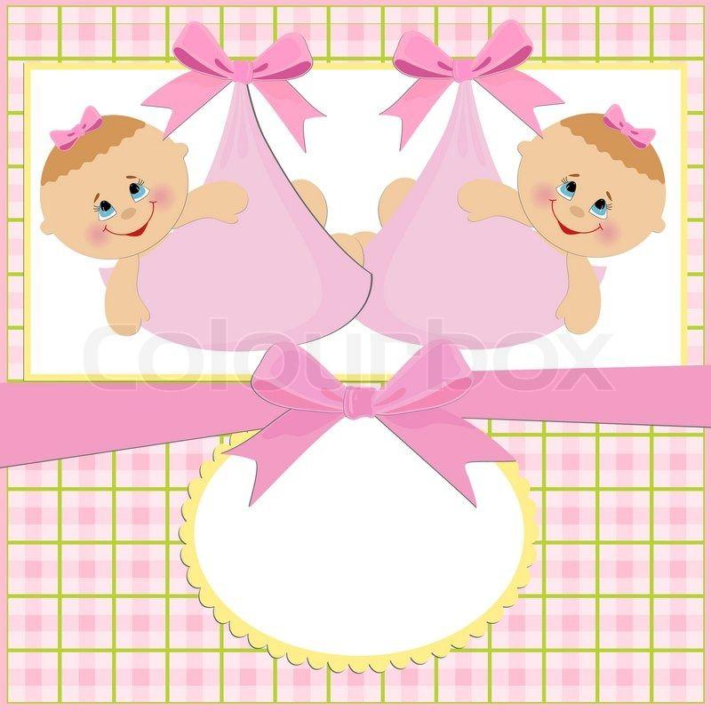 Открытки с рождение двойни девочек